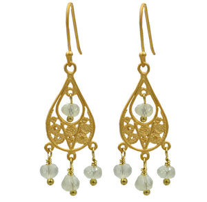 Gold Filigree Prenite Drop Earrings