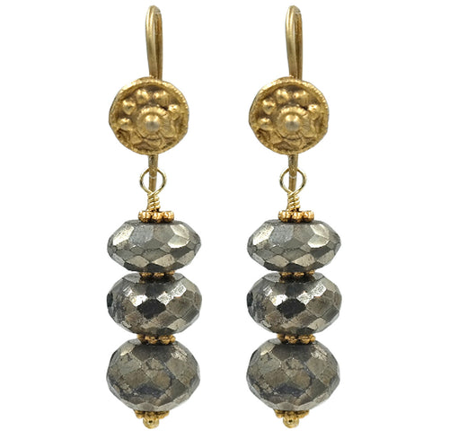 Gold Pyrite Drop Earrings