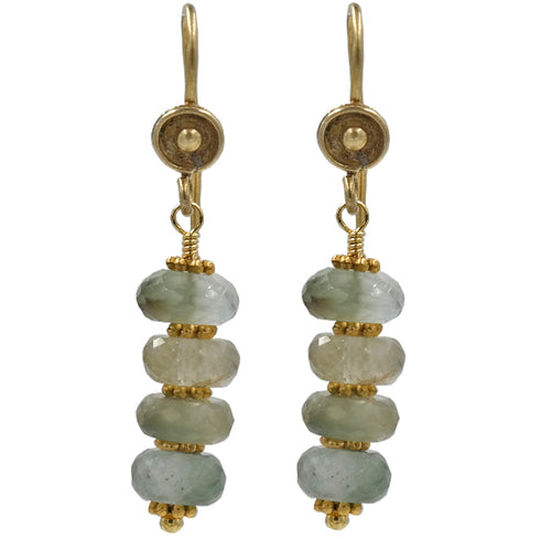 Gold Green Garnet Rondel Drop Earrings