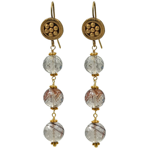 Brown Rutilated Quartz Drop Earrings