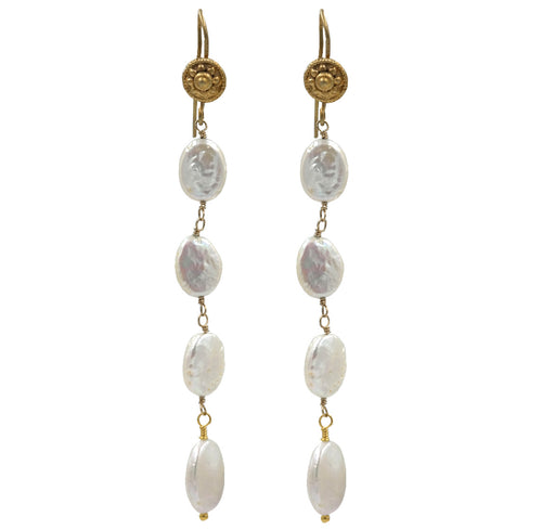 Gold Fresh Water Pearl Drop Earrings