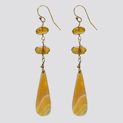 Faceted Smoky Topaz & Yellow Jasper Drop