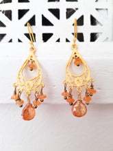 Teardrop Filigree Citrine Earrings