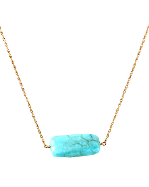 Blue Opal Single Stone Necklace