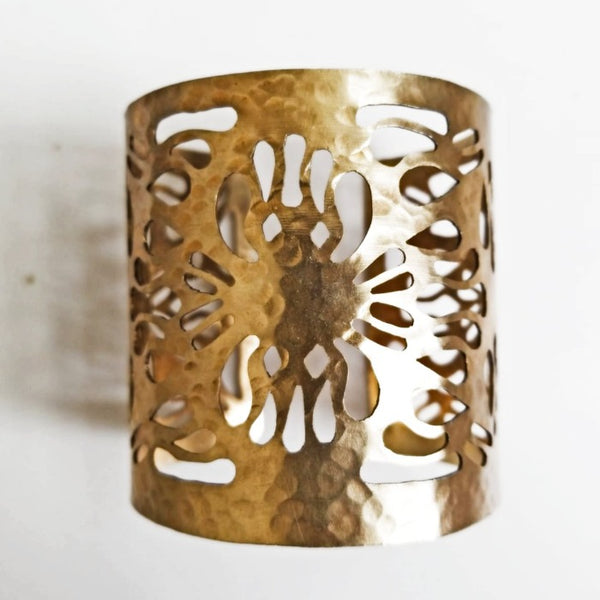Abstract Flower Cut-Out Cuff Bracelet