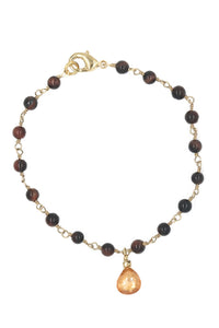 Gold Red Tiger Eye & Champange CZ Drop Bracelet