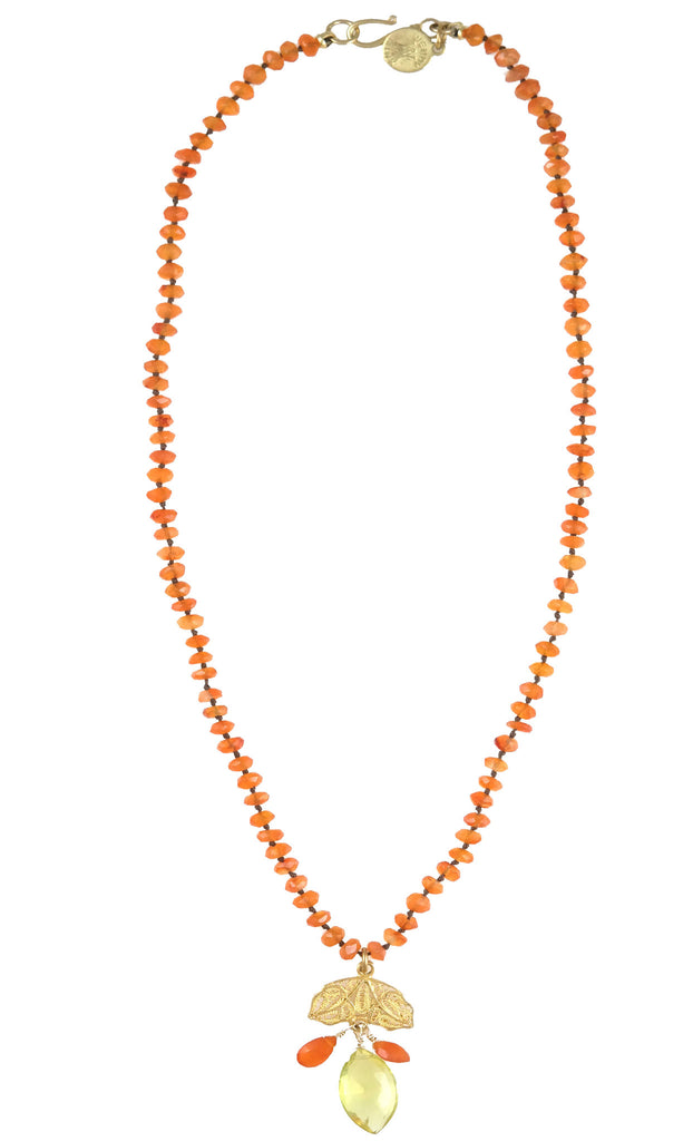 Knotted Carnelian Cluster Drop Necklace