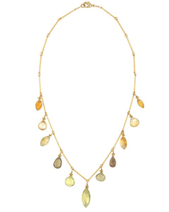 Gold Lemon Citrine, Prenite, Citrine Multi Drop Necklace