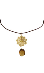 Smokey Topaz & Filigree Flower Choker Necklace