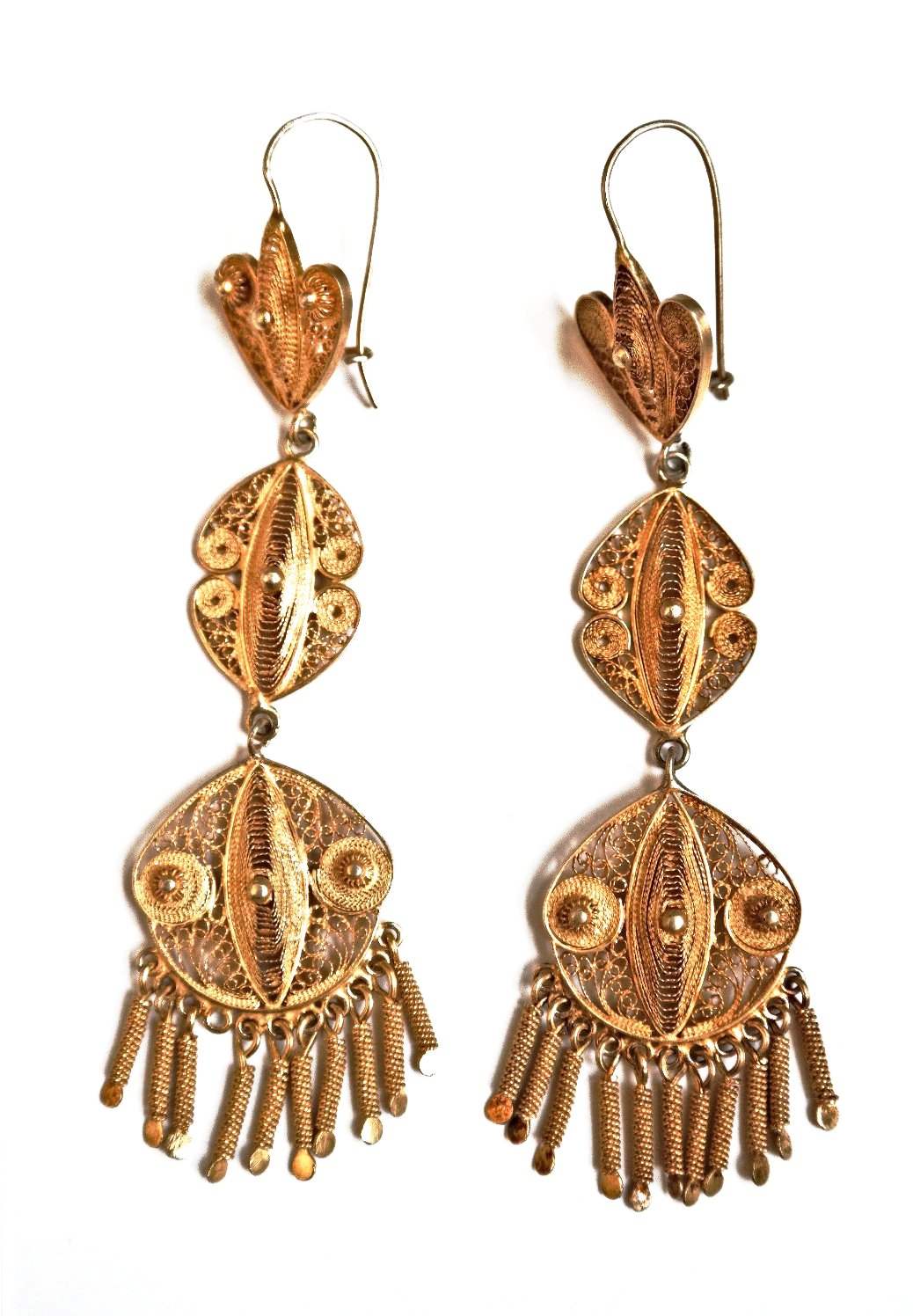 Gold Chandelier Filigree Earrings