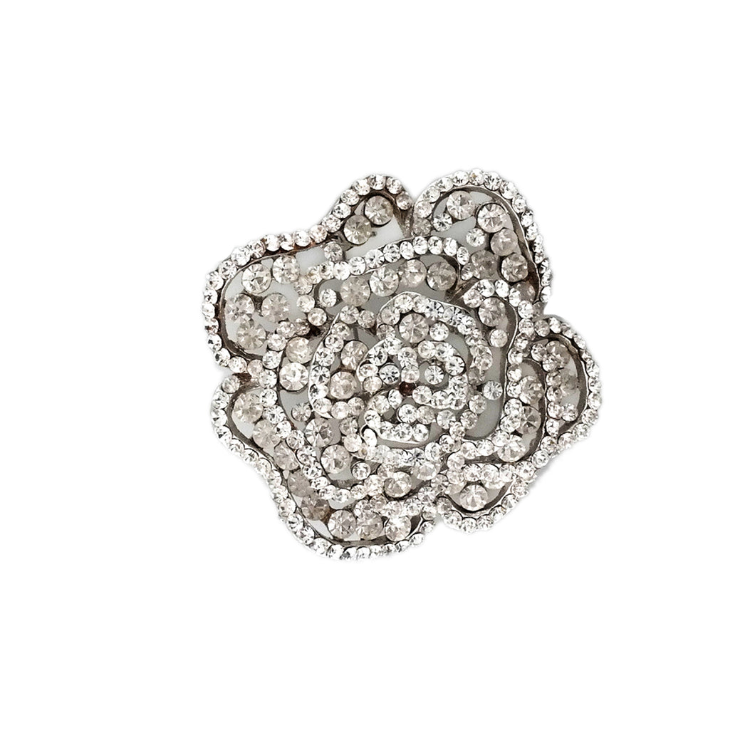 Rhinestone Rose Pin