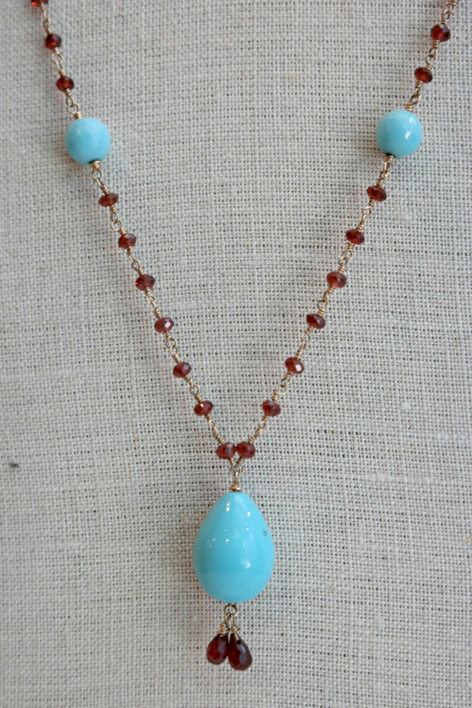 Garnet Rosary Necklace With Turquoise Beads