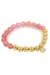 Gold Cherry Quartz & ChalcedonyStretch Bracelet