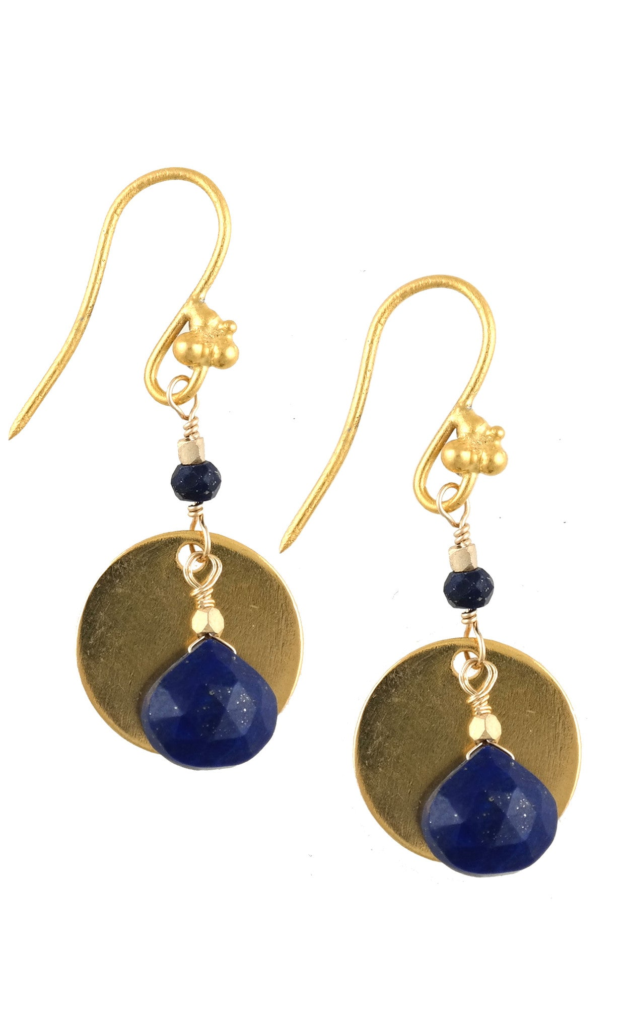 Blue Lapis Disc Drop Earring
