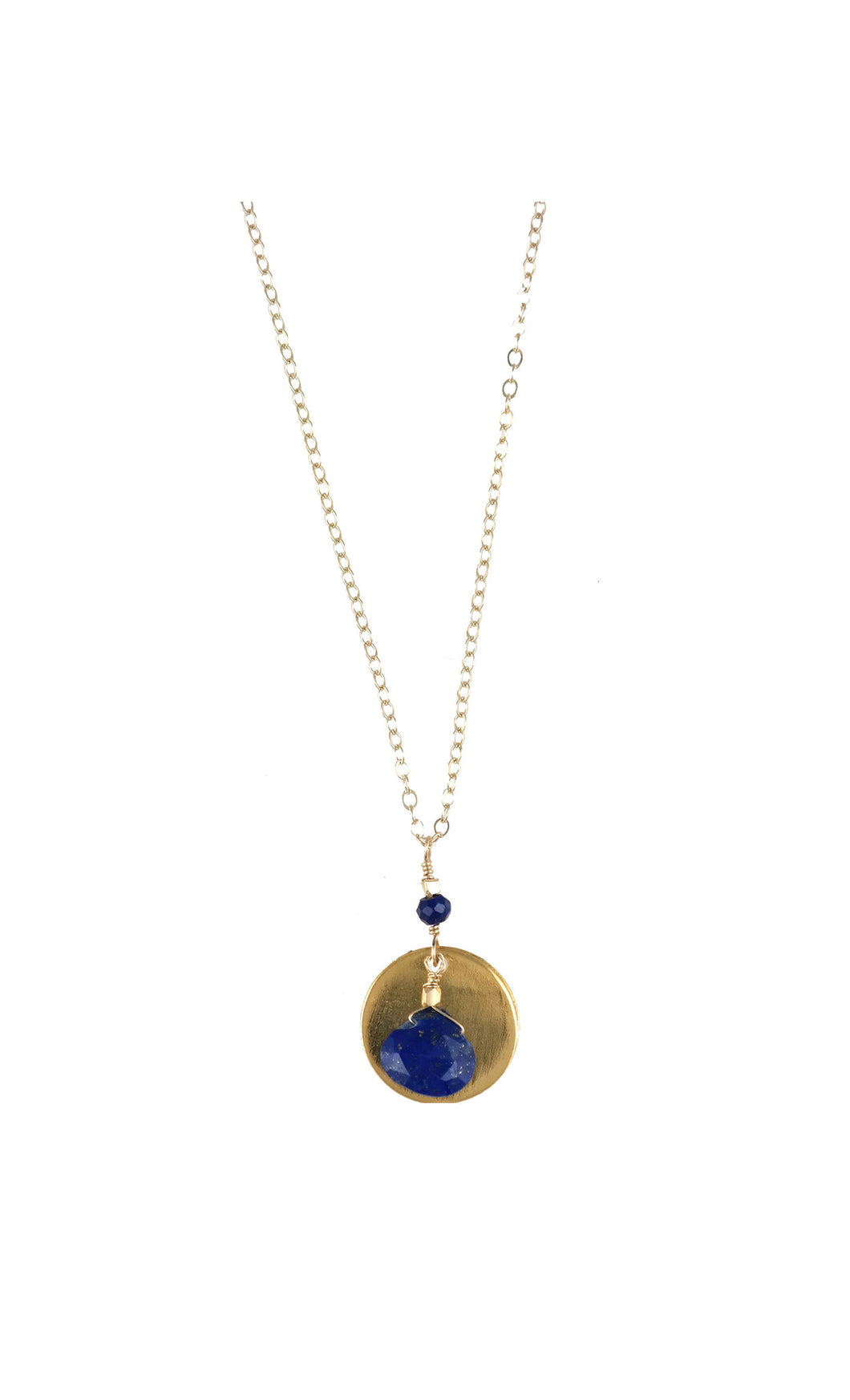 Blue Lapis Gold Disc Drop Necklace