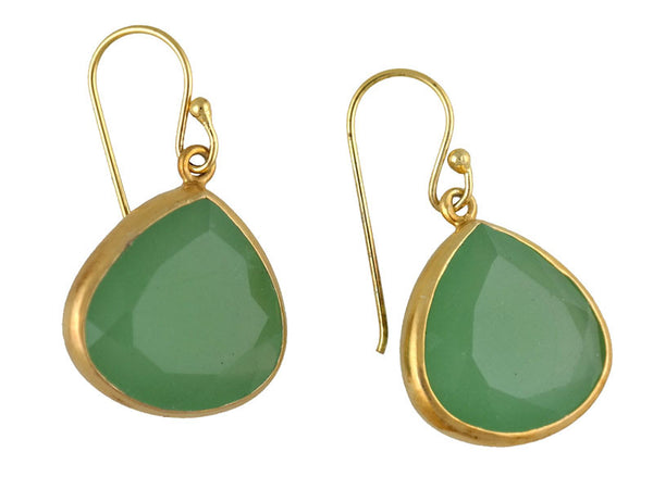 Green Calcite Tear Drop Earring