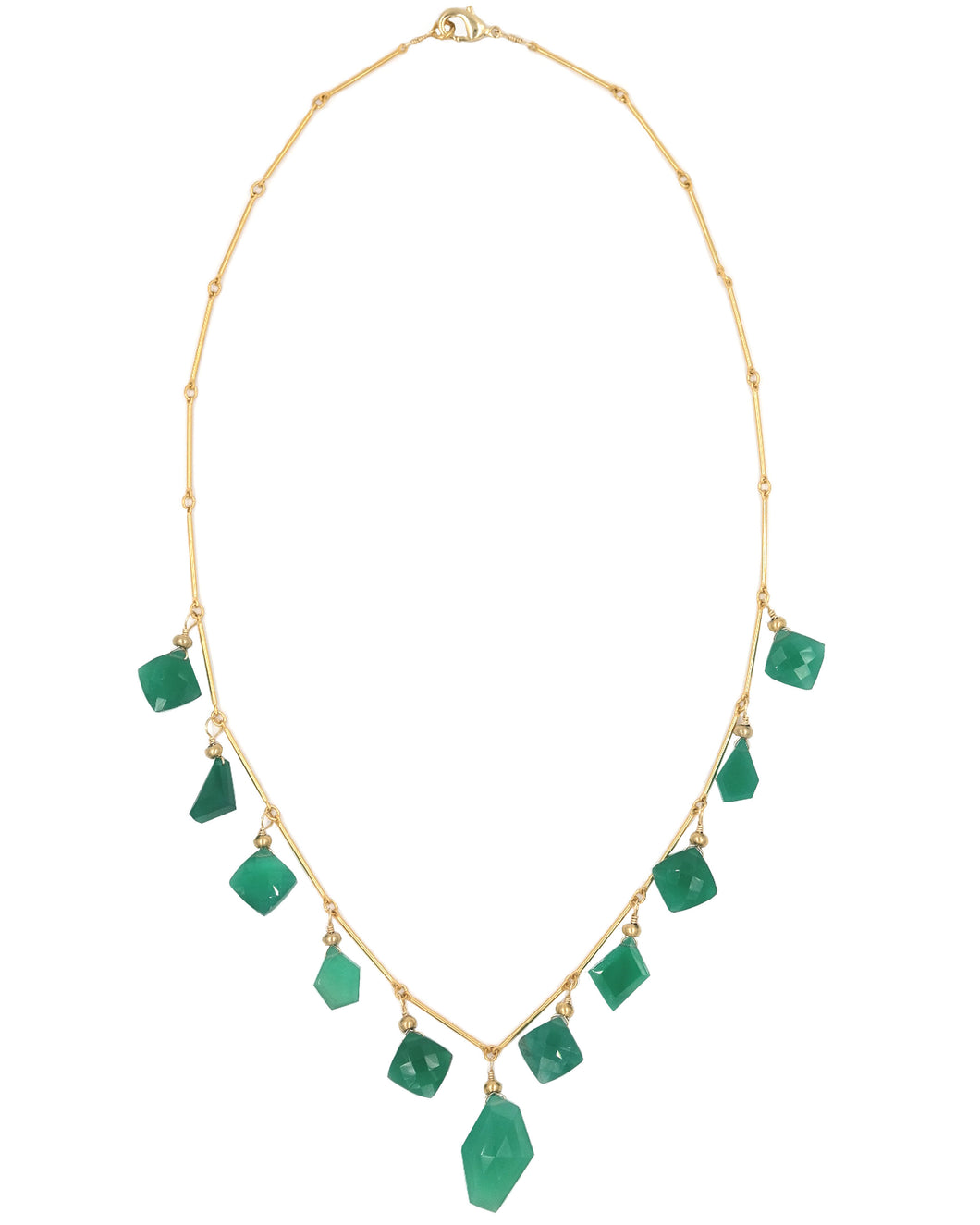 Gold Green Onyx Slice Drop Necklace