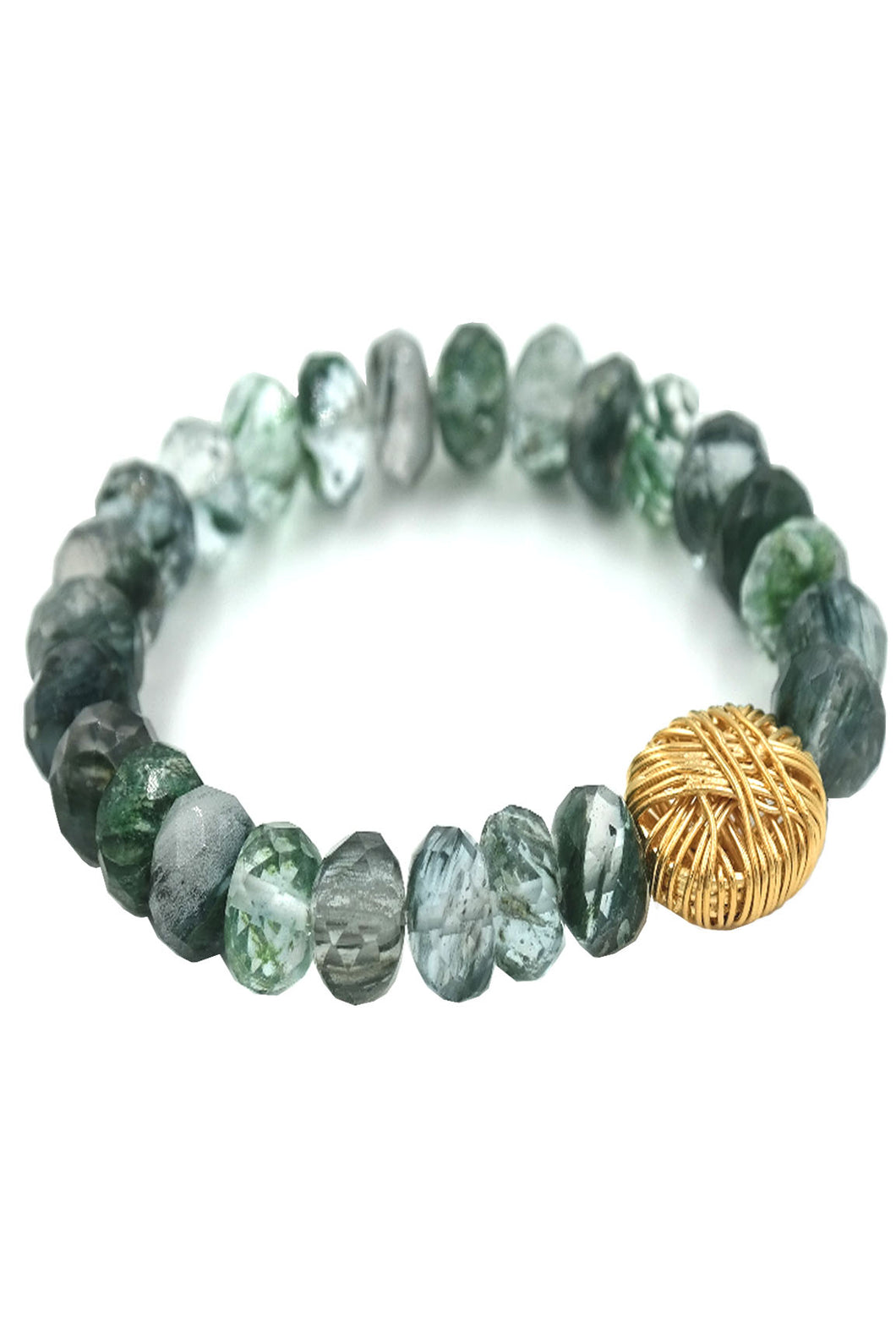 Gold Bead Tree Agate Stretch Bracelet