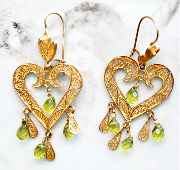 Filigree Heart Earrings With Peridot Drops