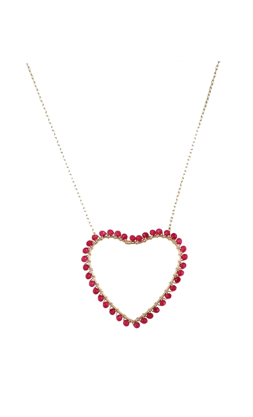 Ruby Wrap Heart Drop Necklace