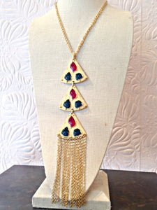 Vintage Signed TRIFARI Geometric Tassel Necklace