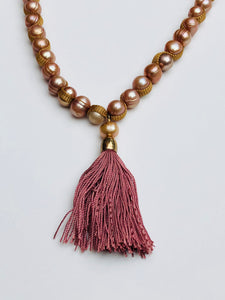 Long Freshwater Pearl Dusty Rose Tassel Necklace