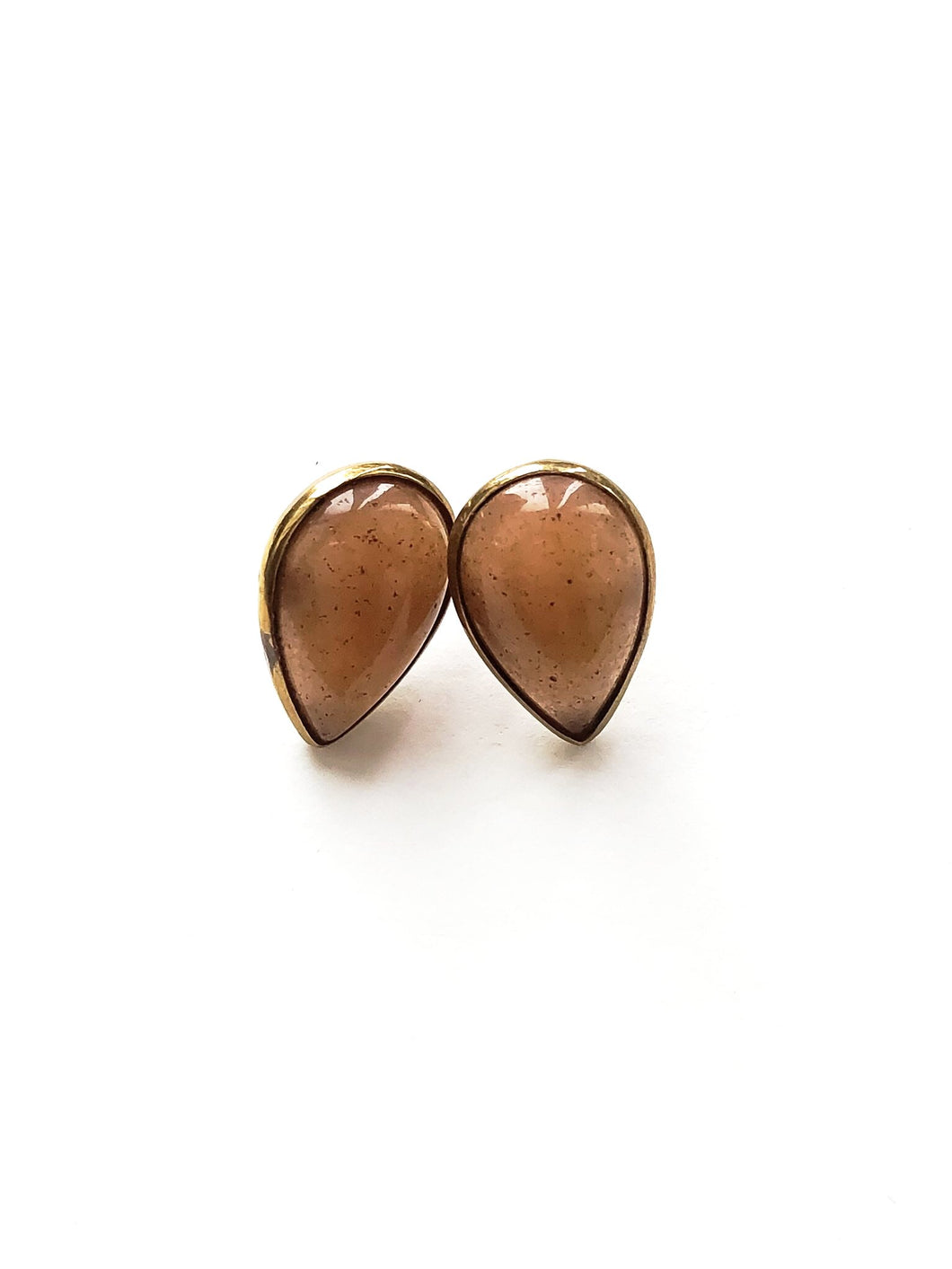 Orange Moonstone Stud Earrings