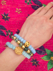 Blue Agate Indonesian Gold Bead Stretch Bracelet