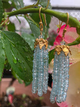 Aquamarine Tassel Earrings Medium
