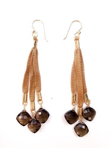 Long Smokey Topaz Cluster Earrings