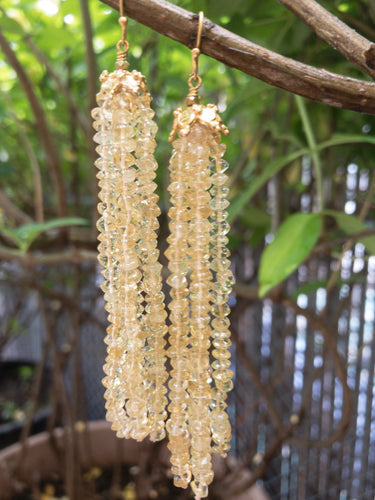 Long Citrine Tassel Earrings