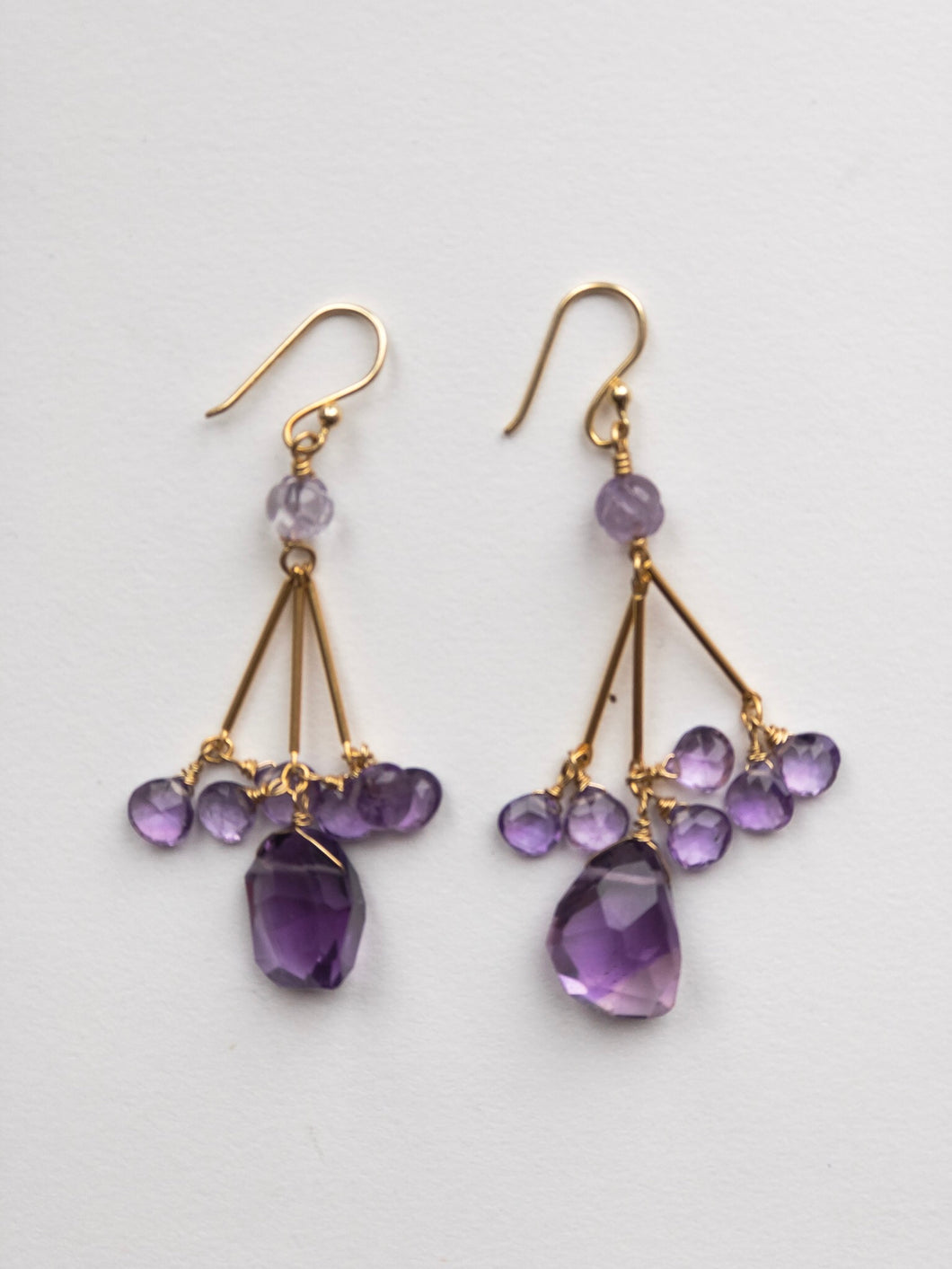 Long Dangling Amethyst Earrings