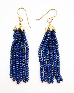 Long Lapis Tassel Earrings