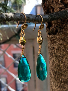 Green Emerald Glass Drop Earrings