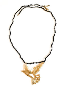 Filigree Flying Bird Pyrite Necklace