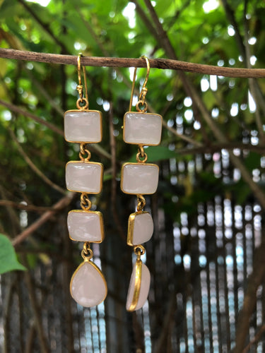 Long Rose Quartz Bezel Earrings