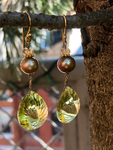 Faceted Citrine Freshwater Pearl Earrings