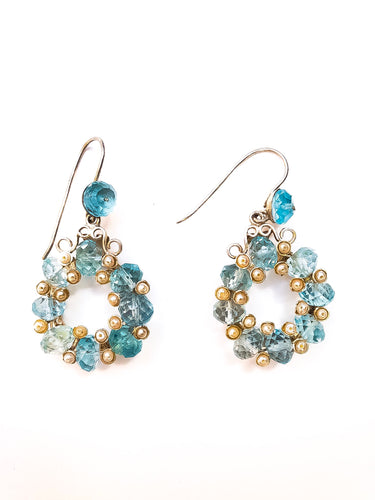 Aquamarine White Pearl Round Earrings