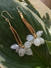 Long Moonstone Cluster Earrings