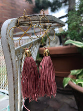 Long Flower Dusty Rose Tassel Earrings