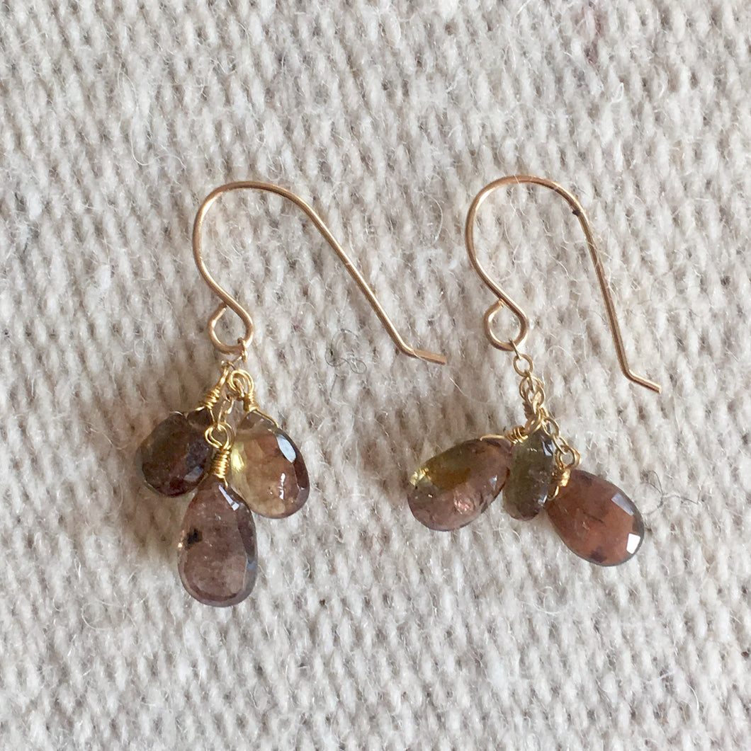 Rutilated Quartz Baby Cluster Earrings