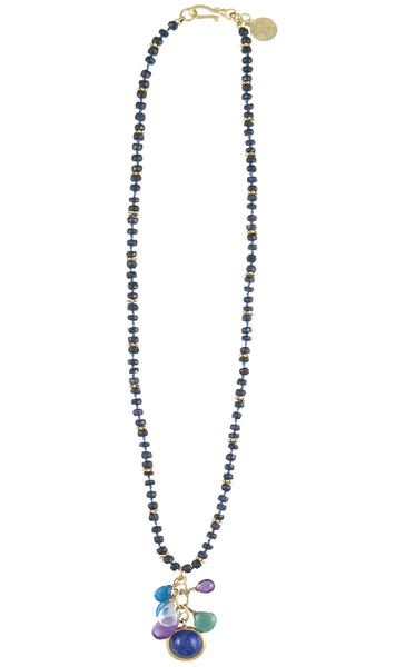 Knotted Lapis Rondel Cluster Drop Necklace