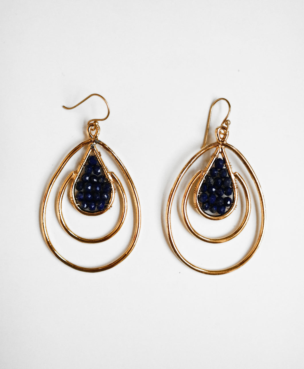 Lapis Double Cage Earrings