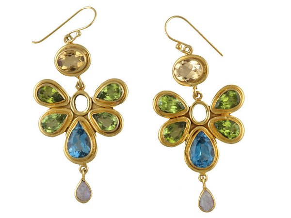 Gold Flower Bezel Double Drop Earrings
