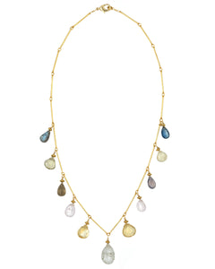 Gold Citrine, Labradorite & london Blue Topaz Drop Necklace