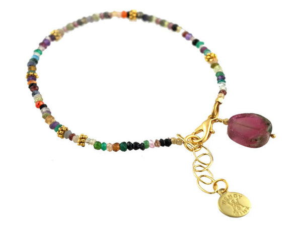 Multi Color CZ Charm Bracelet
