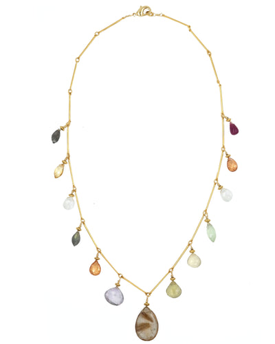 Gold Mix Gemstone Drop  Necklace