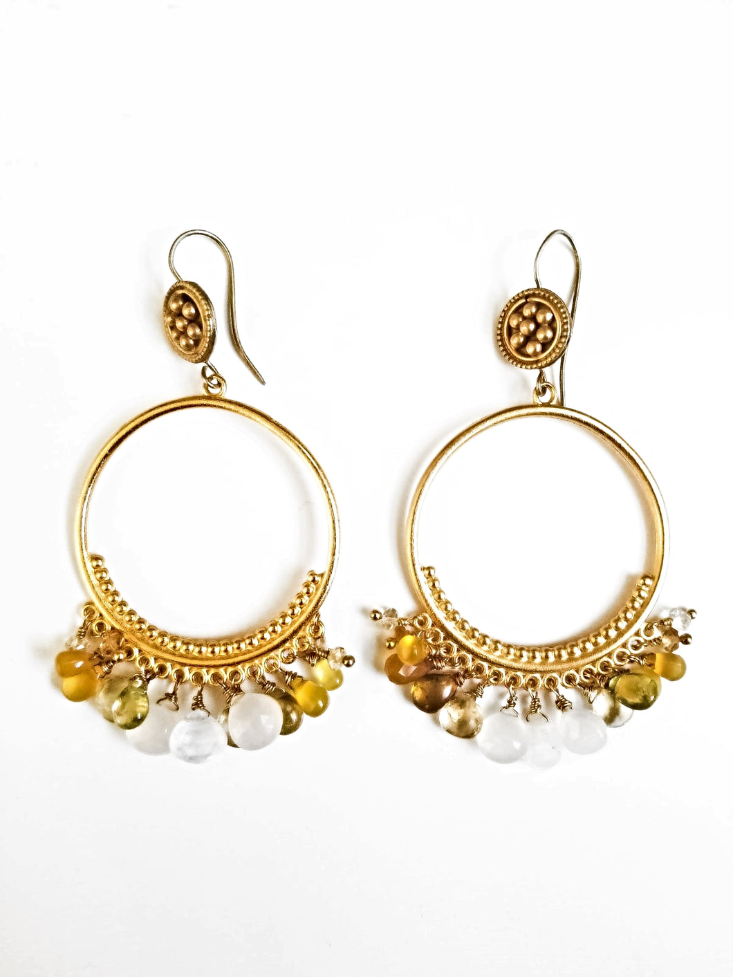 Mixed Gemstone Gold Circle Earrings