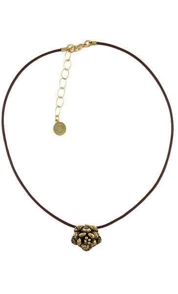 Gold Flower Pendant Choker Necklace