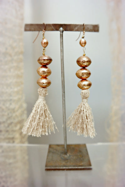 Rose Gold Bead Tassel Earrings